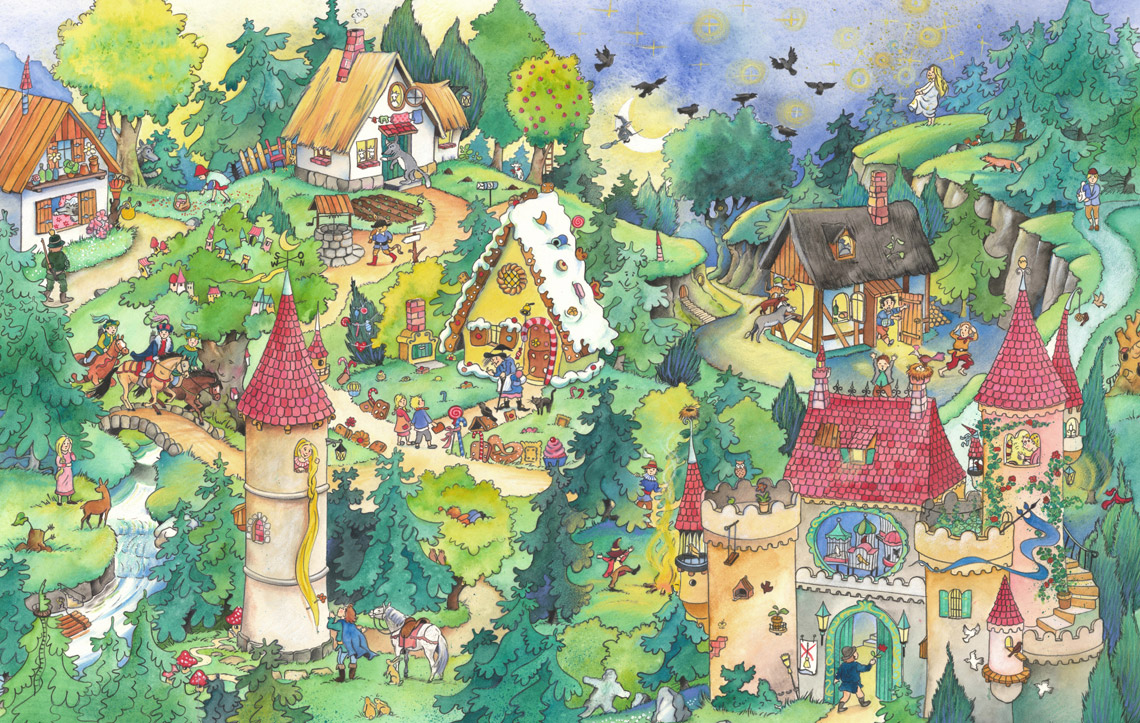 Illustration Melanie Brockamp Märchen Wald Rapunzel Hänsel Gretel